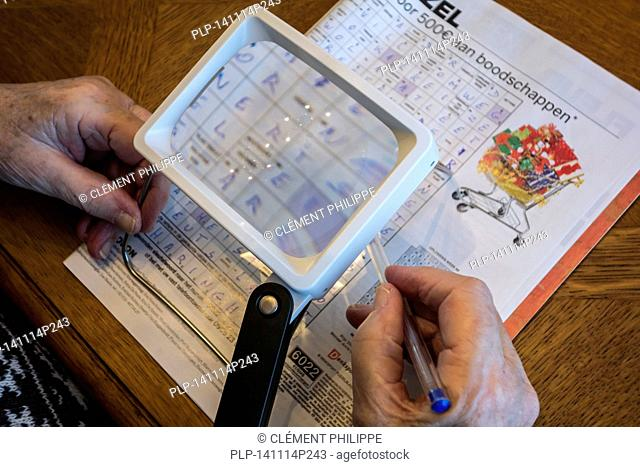 Elderly woman suffering from presbyopia / myopia / short-sightedness looking at crossword puzzle through magnifying glass