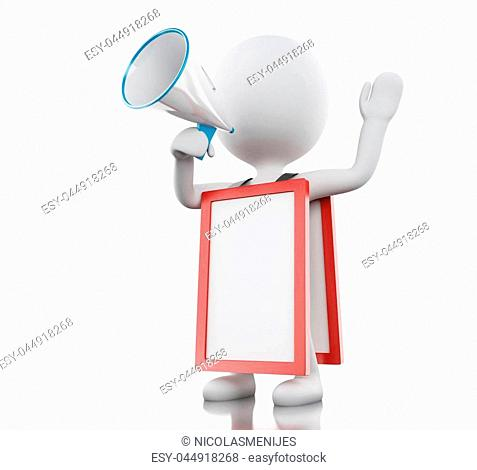 3d illustration. White people with megaphone and empty signboard. Advertising concept. Isolated white background