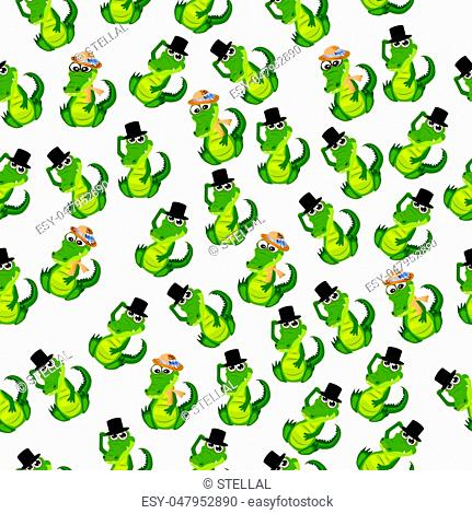 High quality original trendy vector seamless pattern with a cute crocodile or alligator in hat