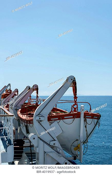 Lifeboats of a passenger ferry from Livorno to Bastia, Mediterranean Sea