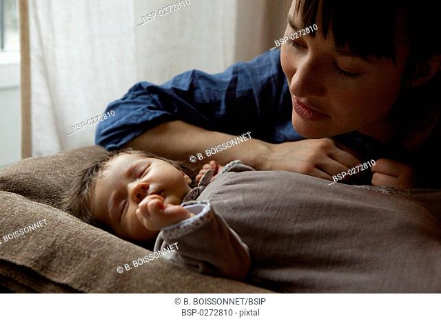 MOTHER AND NEWBORN BABY Models. 3-week-old baby girl