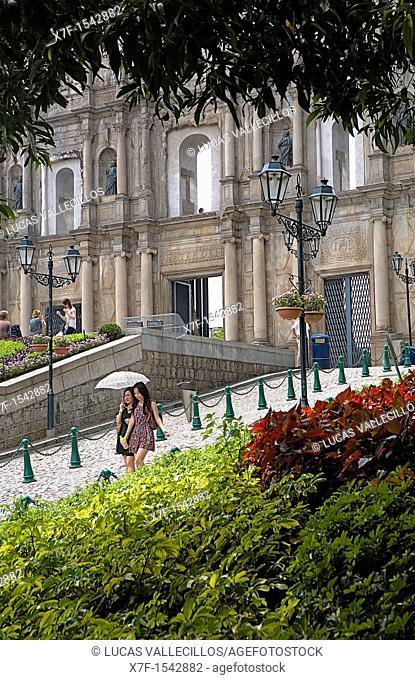 Friends walking near the Ruins of St Paul's Church,Macau,China