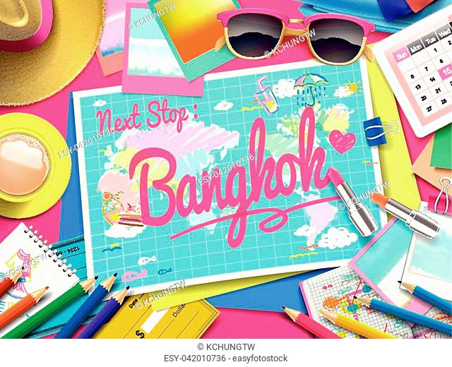 Bangkok on map, top view of colorful travel essentials on table