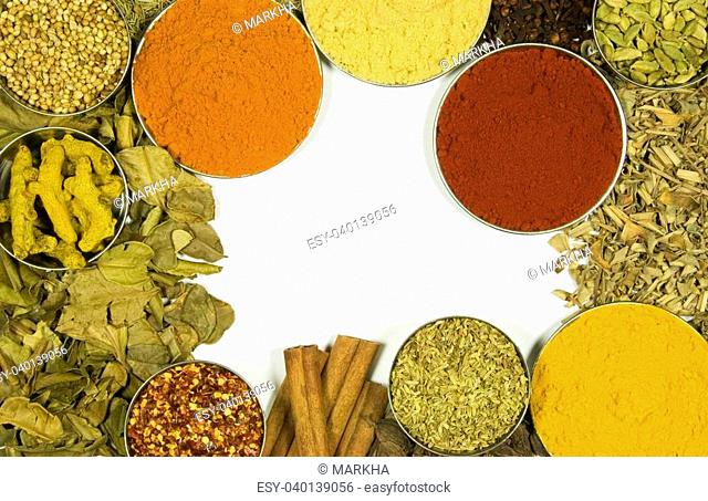 Herbs and spices on a white background