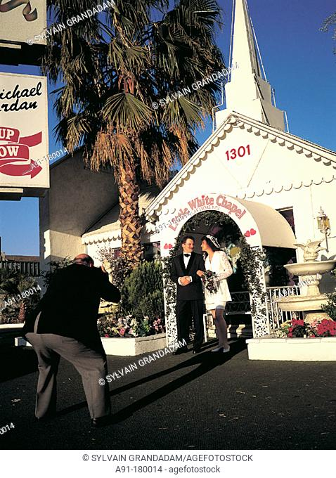 Wedding picture at Little White Chapel. Las Vegas. USA
