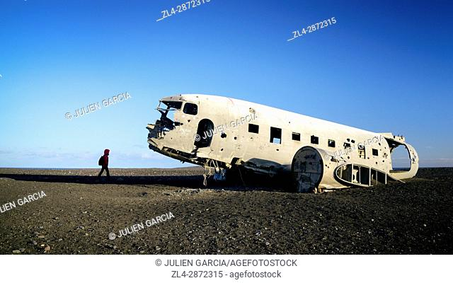 Iceland, Solheimasandur, US Navy DC plane wreckage, it crashed on a black sand beach in 1973, Model Released