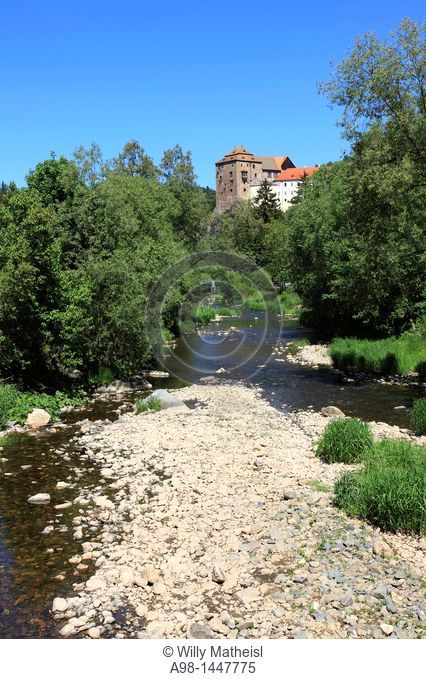 At the the river Tepla and the Castle Becov in the village Becov nad Teplou, , Czech Republic, Europe