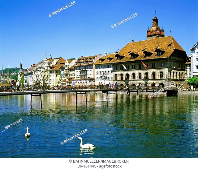 Lucerne canton of Lucerne Switzerland old town upon the river Reuss