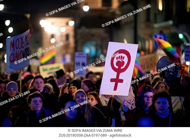 March 8, 2018 - Krakow, Poland - Hundreds of women attend the international women's day march organized by Krakowska Manifa in Krakow