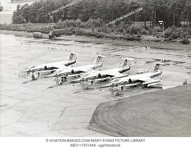 Royal Canadian Airforce Lockheed F-104G Starfighter Cf-104As Parked in a Row During the 1967 Tactical Weapon Meet