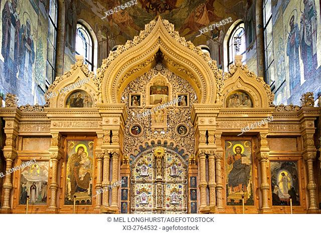 The iconostasis, Church on Spilled Blood, also Church of the Saviour on Spilled Blood, St Petersburg, Russia