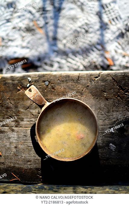 Delicious Finnish salmon soup. Wilderness husky sledding taiga tour with Bearhillhusky in Rovaniemi, Lapland, Finland