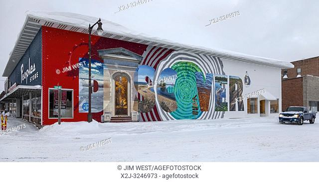 Manistique, Michigan - A mural pictures nature scenes around this small town on the northern shore of Lake Michigan. The mural is one of several painted by The...