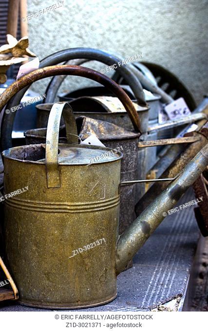 old metal watering cans. Warnemunde Germany