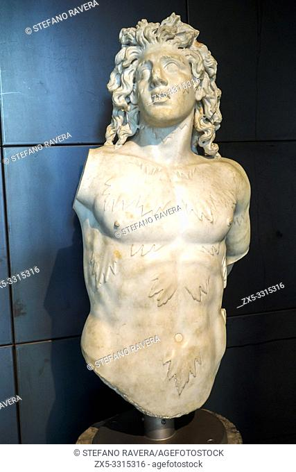 Torso fo a Triton or a sea Centaur . This fantastic creature is related to Commodus' apotheosis as Hercules. AD 191-192. from an underground chamber in the area...