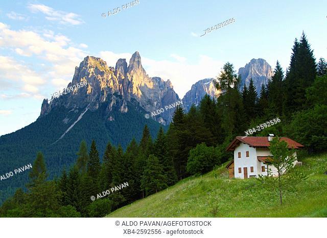 View of Pale di San Martino near Cereda Pass, Tonadico, Italy