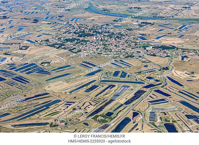 France, Vendee, Bouin, the village in the Marais Breton (aerial view)