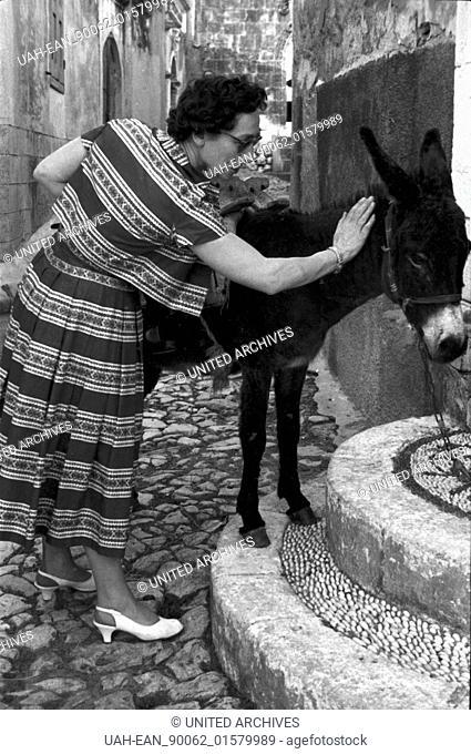 Griechenland, Greece - Eine Touristin aus Deutschland streichelt einen Esel auf der Insel Rhodos, Griechenland, 1950er Jahre