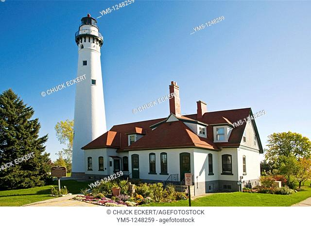 Historic Wind Point Lighthouse on Lake Michigan in Southern Wisconsin, USA