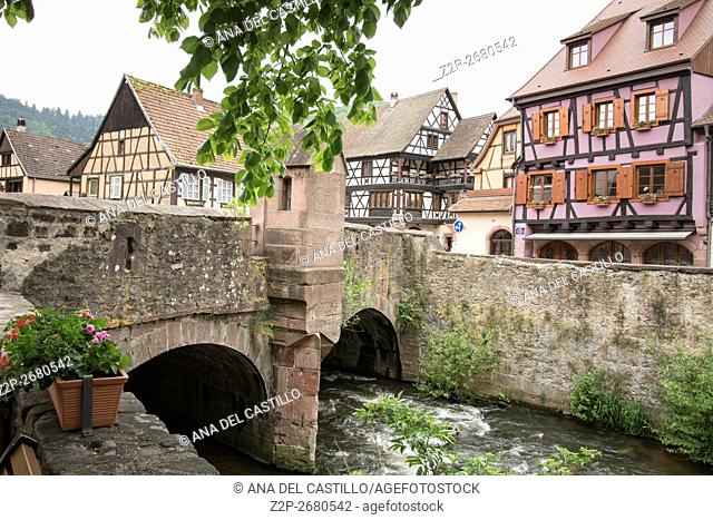 Kaysersberg, Alsace:The famous idyllic Wine Village of Kaysersberg in Alsace near Colmar,France
