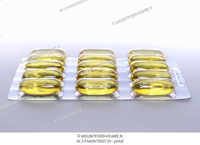 Cod liver oil capules in blister pack