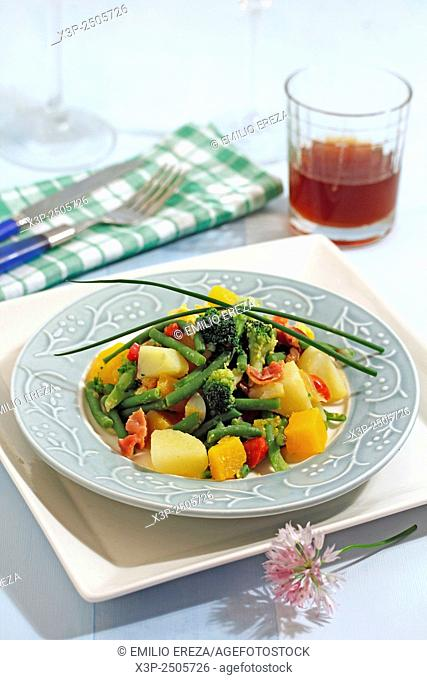 Stewed and mixed vegetables