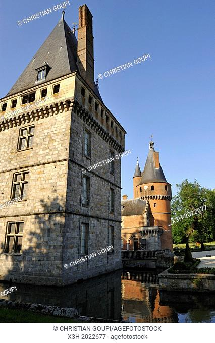 Medieval square tower from 13th et Renaissance tower in background, Chateau de Maintenon, Eure & Loir department, region Centre, France, Europe