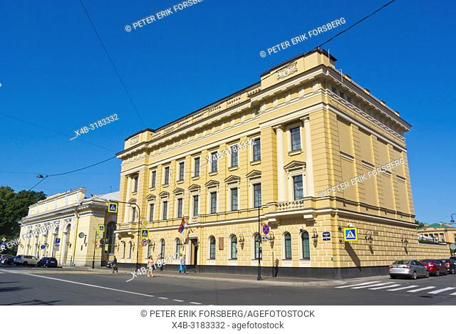 TheHouse of the Officer Corps of His Imperial Majesty's Convoy, Manezhnaya Ploshchad, Saint Petersburg, Russia