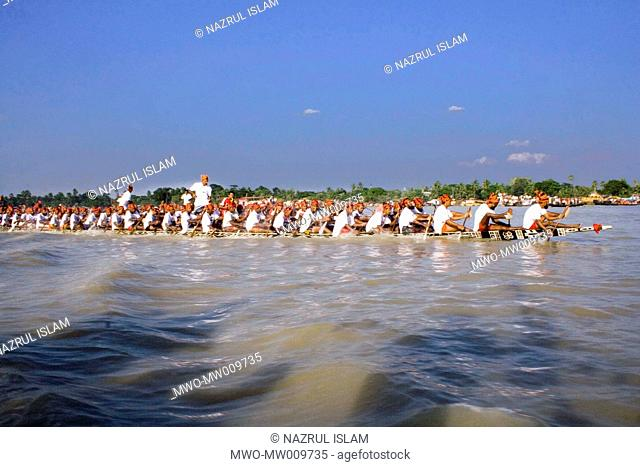 """Traditional Boat Race known as 'Nouka Baich' in the River Vairab in Khulna, Bangladesh The race was sponsored by """"Bangla Link' a telecom company October 27"""