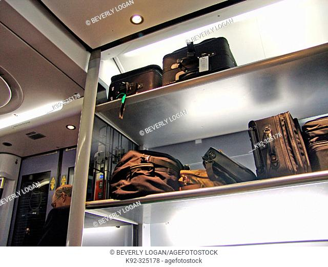 Luggage compartment on the express train from Heathrow Airport to Paddington Station in London. England