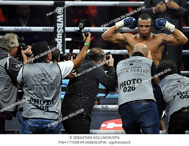 Chris Eubank Jr. of Great Britain after his victory at the super middleweight quarterfinals of the IBO Boxing World Cup in Stuttgart, Germany, 7 October 2017