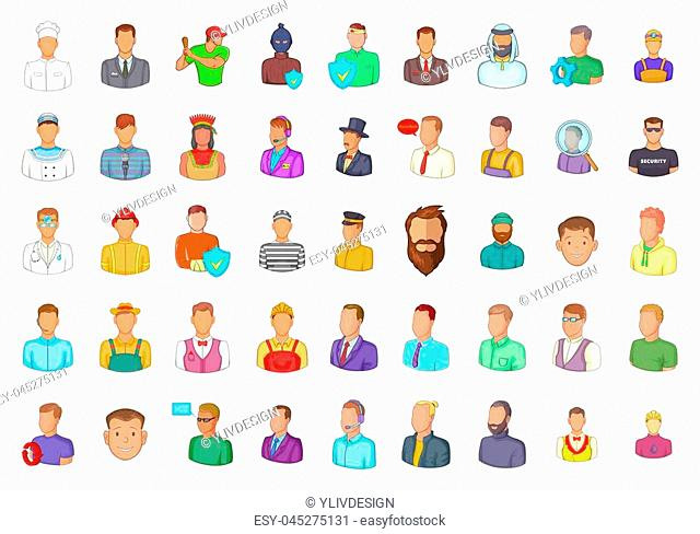 Man silhouette icon set. Cartoon set of man silhouette icons for your web design isolated on white background