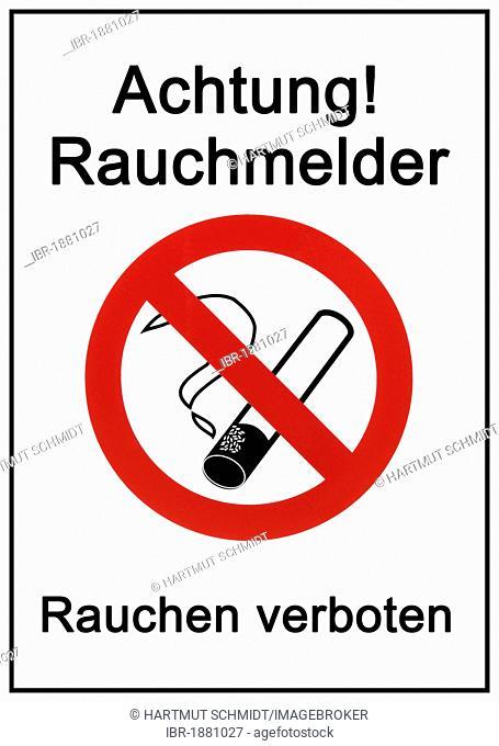 Sign, Achtung, Rauchmelder, Rauchen verboten, German for caution, smoking detector, smoking prohibited, pictogram