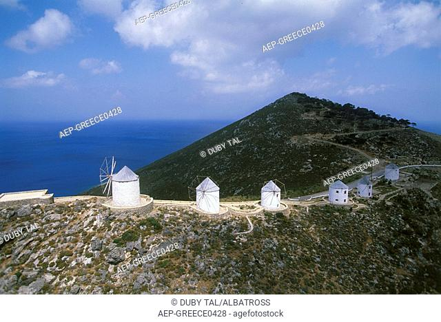 Aerial photograph of a Greek windmill on the island of Leros in the Aegean sea