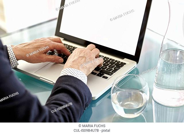 Hands of senior woman typing on laptop at desk