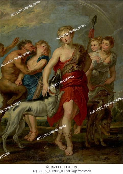 Diana and Her Nymphs on the Hunt; Workshop of Peter Paul Rubens (Flemish, 1577 - 1640); 1627 - 1628; Oil on canvas; 237.5 × 183