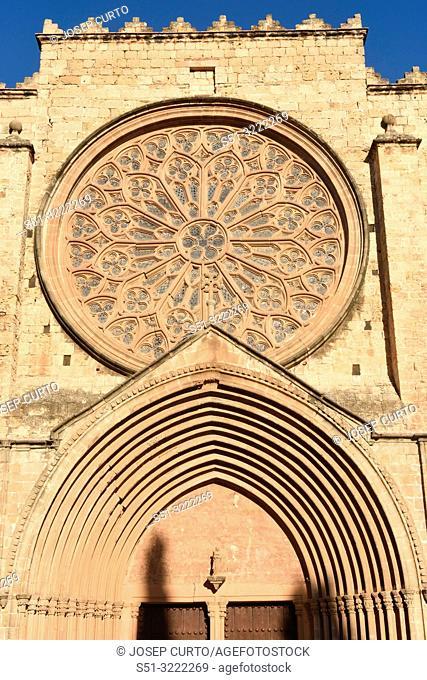 Facade of the Monastery of Sant Cugat, Barcelona province, Catalonia,Spain