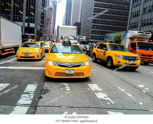 New York, USA. Yellow cabs in the streets of down town Manhattan