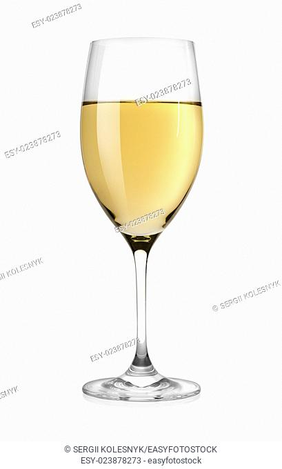 White wine isolated on a white background