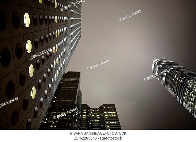 Hong Kong skyline at night Central business and financial district (Jardine House Building and IFC 2 Tower), Hong Kong Island, Hong Kong, China, East Asia