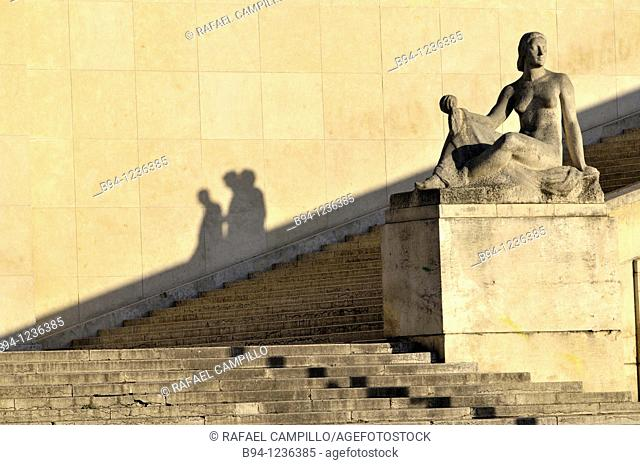 Shadows of people by Pomone sculpture (1937, Robert Wlérick) in the Trocadero, Paris, France