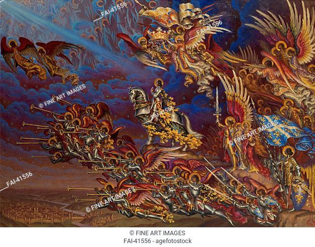 The Triumph of Joan of Arc by Kalmakov (Kalmakoff), Nikolai Konstantinovich (1873-1955)/Oil on cardboard/Symbolism/1930/Russia/Private Collection/59