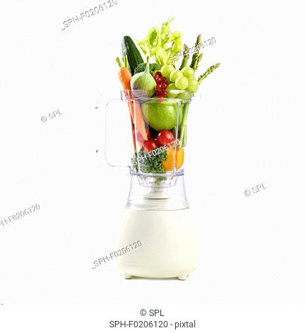 Fresh produce in a blender