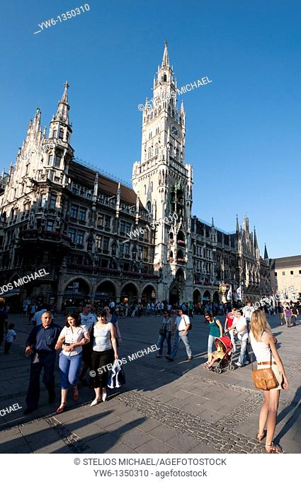 Marienplatz and the New City Hall, in Munich,Germany