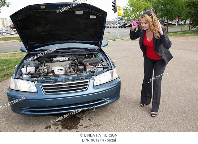 a woman looks at fluid leaking from her car, edmonton, alberta, canada