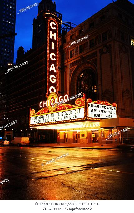 The Historic Chicago Theater brightens a rainy night