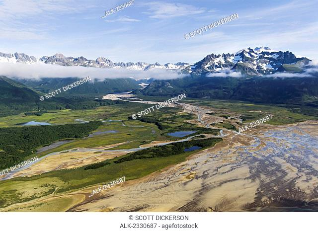 Aerial view of Swikshak River looking towards Fourpeaked Volcano, Katmai National Park, Alaska Peninsula, Southwest Alaska, summer