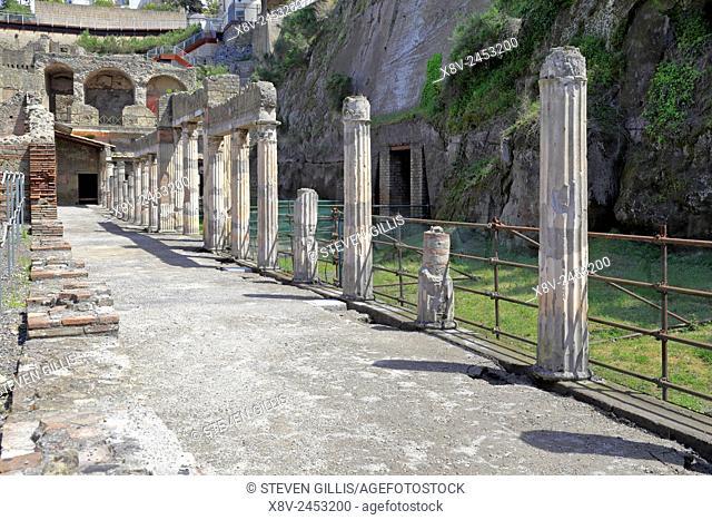 Column ruins of the Palaestra, Herculaneum, Ercolano, Italy
