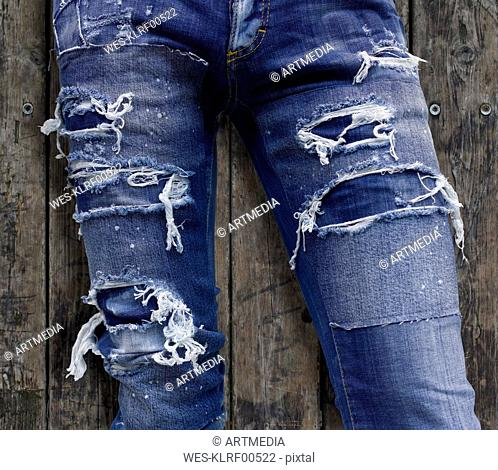 Jeans in used look, partial view