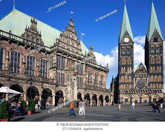 Germany, Bremen, Markt, Town Hall, Cathedral